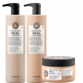 Maria Nila Head & Hair Heal Shampoo + Conditioner 1000ml & Masque 250ml